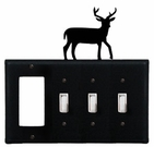 GFI and Triple Switch Cover, Deer, Wrought Iron