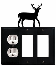 Outlet and Double GFI Cover, Deer, Wrought Iron