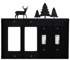 Double GFI & Double Switch Cover, Deer & Pine Trees, Wrought Iron