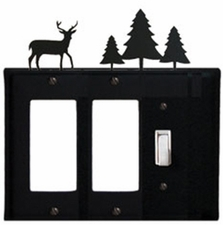 Double GFI and Switch Cover, Deer & Pine Trees, Wrought Iron
