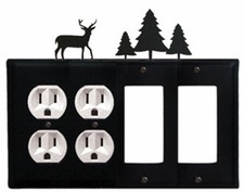Double Outlet & Double GFI Cover, Deer & Pine Trees, Wrought Iron