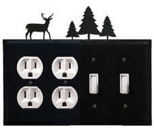 Double Outlet & Double Switch Cover, Deer & Pine Trees, Wrought Iron