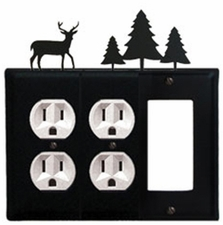 Double Outlet and GFI Cover, Deer & Pine Trees, Wrought Iron
