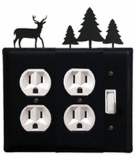 Double Outlet and Switch Cover, Deer & Pine Trees, Wrought Iron
