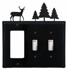 GFI and Double Switch Cover, Deer & Pine Trees, Wrought Iron