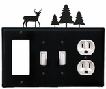 GFI, Double Switch and Outlet Cover, Deer & Pine Trees, Wrought Iron