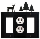 GFI, Outlet and GFI Cover, Deer & Pine Trees, Wrought Iron