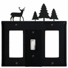 GFI, Switch and GFI Cover, Deer & Pine Trees, Wrought Iron
