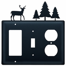 GFI, Switch and Outlet Cover, Deer & Pine Trees, Wrought Iron