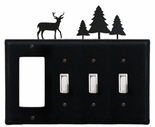 GFI and Triple Switch Cover, Deer & Pine Trees, Wrought Iron