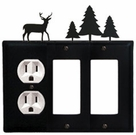 Outlet and Double GFI Cover, Deer & Pine Trees, Wrought Iron
