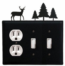 Outlet and Double Switch Cover, Deer & Pine Trees, Wrought Iron