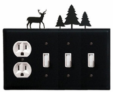 Outlet and Triple Switch Cover, Deer & Pine Trees, Wrought Iron