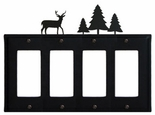Quad GFI Cover, Deer & Pine Trees, Wrought Iron