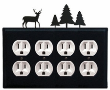 Quad Outlet Cover, Deer & Pine Trees, Wrought Iron