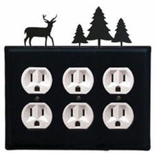 Triple Outlet Cover, Deer & Pine Trees, Wrought Iron