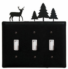Triple Switch Cover, Deer & Pine Trees, Wrought Iron