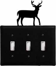 Triple Switch Cover, Deer, Wrought Iron