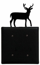 Double Electrical Cover, Deer, Wrought Iron