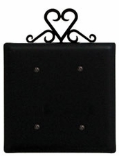 Double Electrical Cover, Heart, Wrought Iron