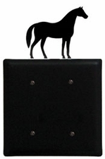 Double Electrical Cover, Horse, Wrought Iron