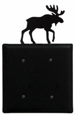 Double Electrical Cover, Moose, Wrought Iron