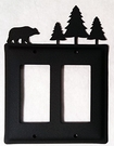 Double GFI Cover, Bear & Pine Trees, Wrought Iron