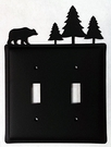 Double Switch Cover, Bear & Pine Trees, Wrought Iron
