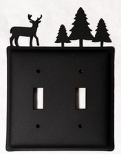Double Switch Cover, Deer & Pine Trees, Wrought Iron