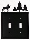 Double Switch Cover, Moose & Pine Trees, Wrought Iron
