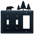 Double Switch & GFI Cover, Bear & Pine Trees, Wrought Iron