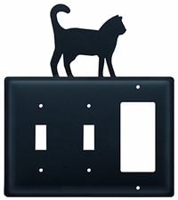 Double Switch & GFI Cover, Cat, Wrought Iron