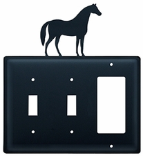 Double Switch & GFI Cover, Horse, Wrought Iron