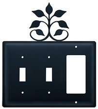 Double Switch & GFI Cover, Leaf Fan, Wrought Iron