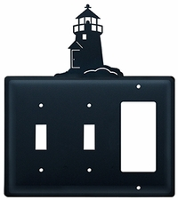Double Switch & GFI Cover, Lighthouse, Wrought Iron