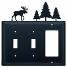Double Switch & GFI Cover, Moose & Pine Trees, Wrought Iron