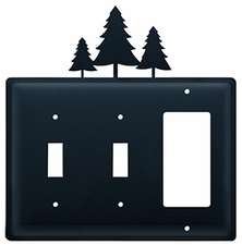 Double Switch & GFI Cover, Pine Trees, Wrought Iron