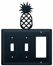 Double Switch & GFI Cover, Pineapple, Wrought Iron
