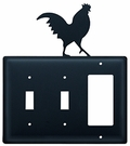 Double Switch & GFI Cover, Rooster, Wrought Iron