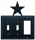 Double Switch & GFI Cover, Star, Wrought Iron
