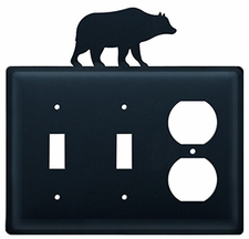 Double Switch & Outlet Cover, Bear , Wrought Iron