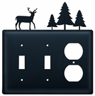 Double Switch & Outlet Cover, Deer & Pine Trees, Wrought Iron