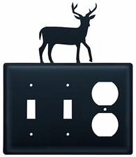 Double Switch & Outlet Cover, Deer, Wrought Iron