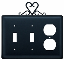 Double Switch & Outlet Cover, Heart, Wrought Iron