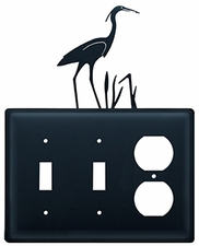 Double Switch & Outlet Cover, Heron, Wrought Iron