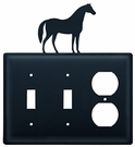 Double Switch & Outlet Cover, Horse, Wrought Iron