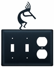 Double Switch & Outlet Cover, Kokopelli, Wrought Iron