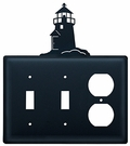 Double Switch & Outlet Cover, Lighthouse, Wrought Iron