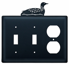 Double Switch & Outlet Cover, Loon, Wrought Iron