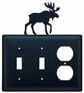 Double Switch & Outlet Cover, Moose, Wrought Iron